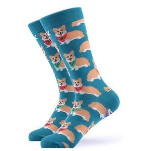 Mens Novelty Corgi Dog Cotton Crew Socks Blue